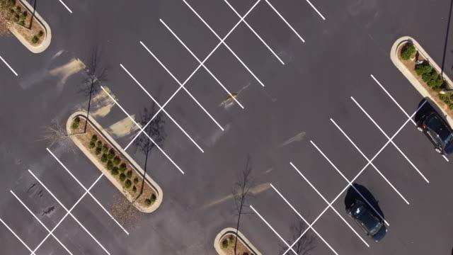 Pan across empty parking lot