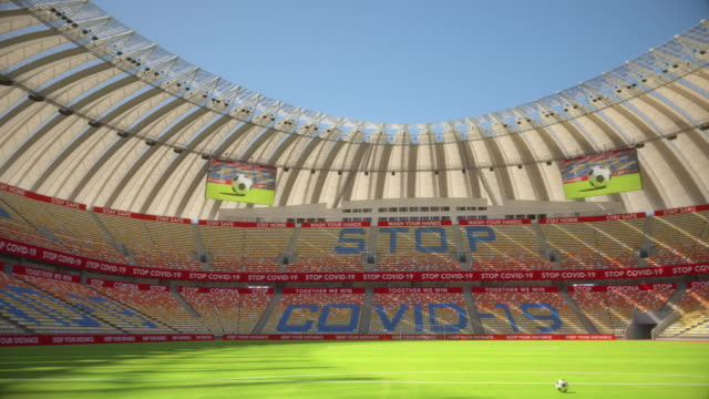 pan around empty football or soccer stadium
