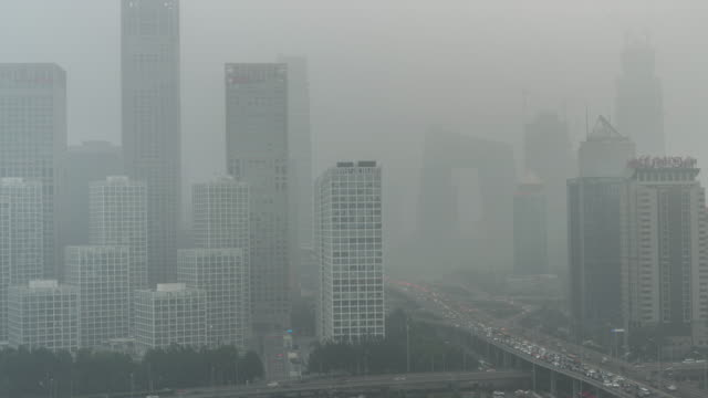 T/L HA LR Pan Cityscape of Beijing in air pollution video