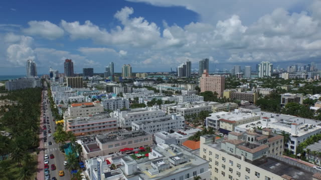 Pan / Decent Over South Beach (Facing South) Aerial 4K video
