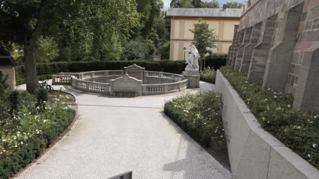 Pan left from Donauquelle to palace Donaueschingen video