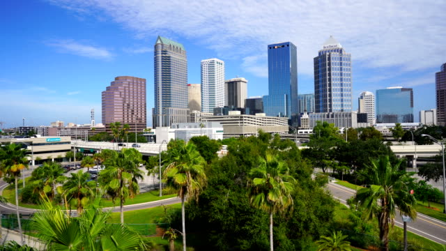Pan Left to Right Aerial Perspective Tampa Florida Downtown Blue skies float over the buildings of downtown Tampa Florida florida us state stock videos & royalty-free footage