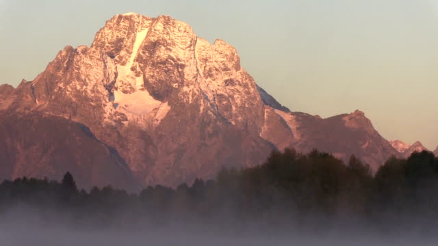 Pan of Sunrise on the Tetons video