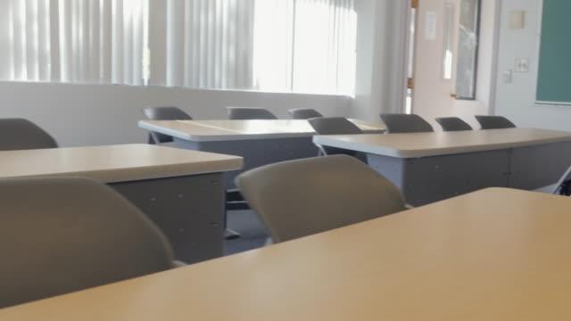Pan Over Desks in Empty Classroom video