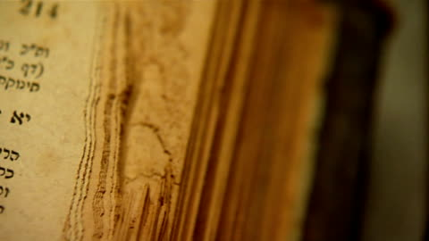 pan over old bible extrem close up camera pan over Hebrew and Aramaic words in an old Bible. starts from book edge,  ancient stock videos & royalty-free footage