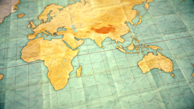 pan over vintage sepia colored world map - seamless loopable background - blank version