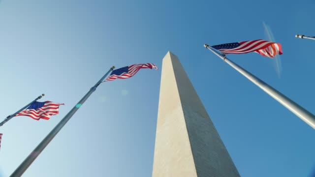 Pan shot: American flags and the Washington Monument video