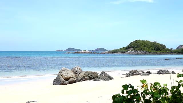 Pan shot beach and sea in beautiful day video