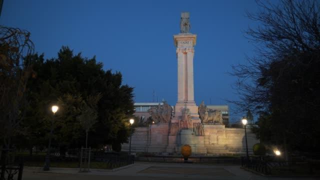 Pan shot left to right of symbolic Column Cadiz in Spain