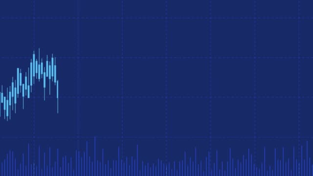 pan shot of abstract financial chart with moving line graph and candlestick on dark blue color background - candeliere video stock e b–roll