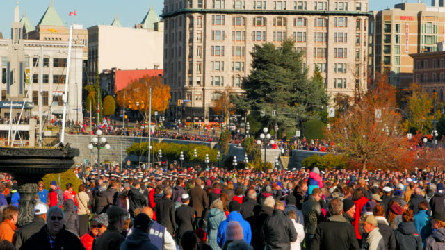 4K Pan Shot of Remembrance Day Memorial Service in front of Cenotaph video