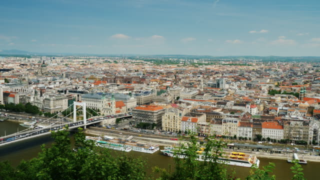 pan shot: panorama of the city of budapest, hungary. one of the most beautiful cities in europe - ungheria video stock e b–roll
