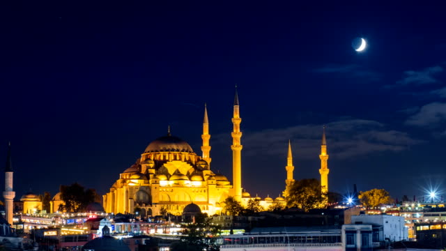 Pan timelapse of famous Suleymaniye mosque in Istanbul at night video