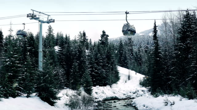 Pan Up From River To Ski Lift video