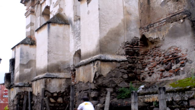 Pan up of an ancient church in ruins in Antigua, Guatemala video