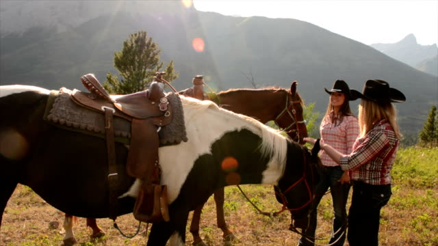 Pan up to women with horses in mountain meadow video