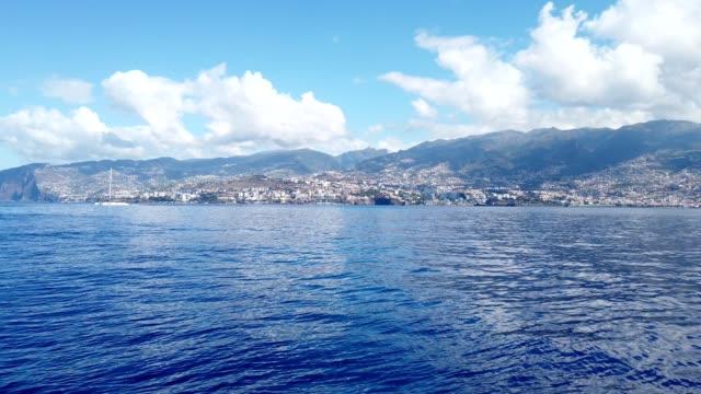 vídeos de stock e filmes b-roll de pan view of south coast of madeira island - ilha da madeira