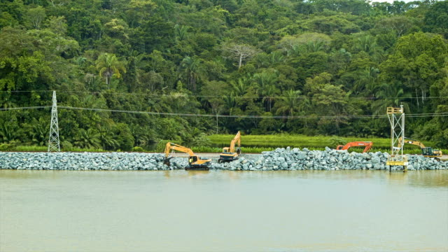 Panama Canal Construction with Jungle Background video