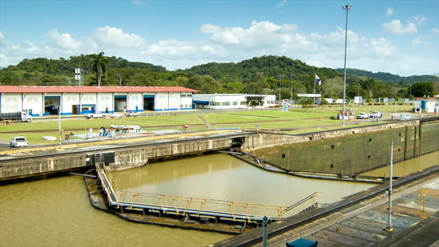 Panama Canal Double Set Locks with Different Water Levels video