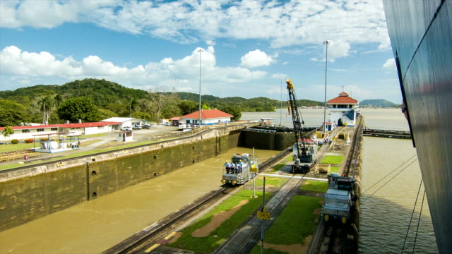Panama Canal Locks Side-by-side One Empty and Another Full video