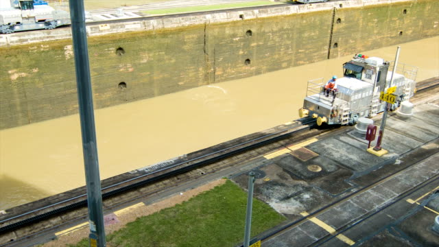 Panama Canal Locomotive Train Going Back to Start of Locks video