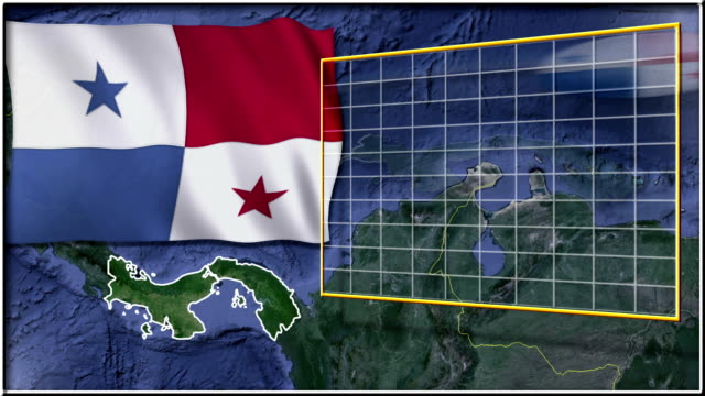 Panama flag and map animation video