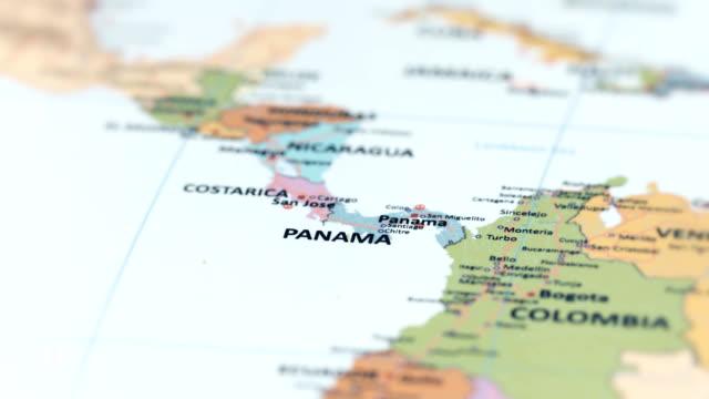 nord america panama sulla mappa del mondo - america latina video stock e b–roll