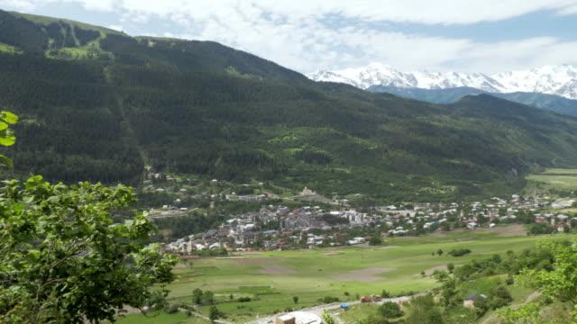 Panaramic view to the city Mestia from the mountains , Georgia