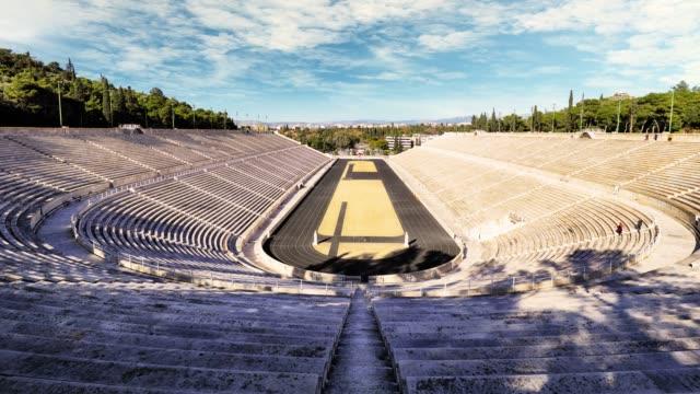 panathenaic stadium in athens, greece - time lapse - attyka grecja filmów i materiałów b-roll
