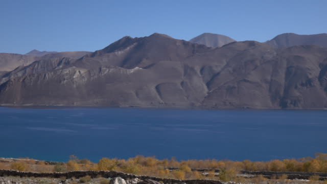Pangong Lake with mountain and blue sky, Ladakh, North India video