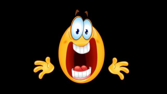 panic emoticon animation - emoji video stock e b–roll