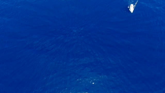 Paning aerial shot with blue sea surface and white sailboat sliding in from the top video