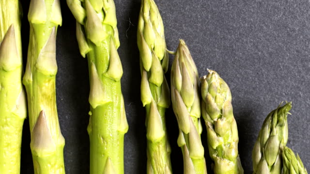 Panning across asparagus stems video