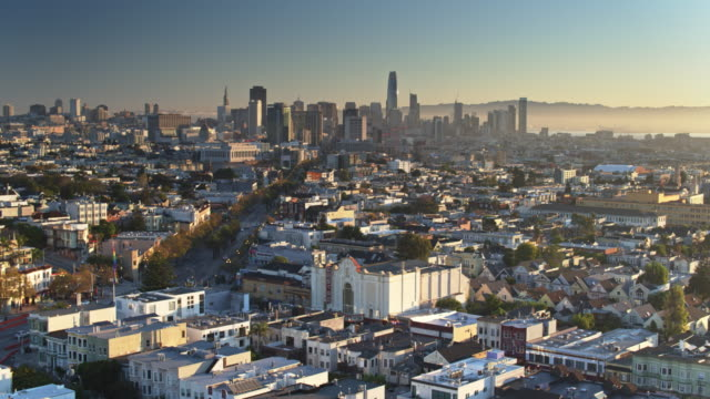 Panning Aerial Shot of The Castro, San Francisco at Sunrise video