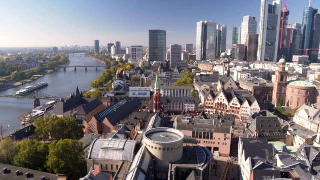 panning aerial view: Cityscape of Frankfurt in morning when autumn is coming , Germany panning aerial view: Cityscape of Frankfurt in morning when autumn is coming , Germany european culture stock videos & royalty-free footage