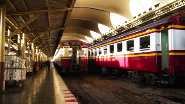 Panning Camera To Trains at Hua Lamphong Station bangkok.