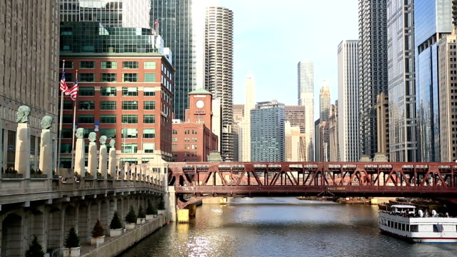 HD Panning: Chicago River with Skyline Cityscape USA video