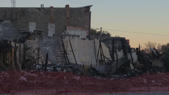 panning demolition site rubble dilapidated video