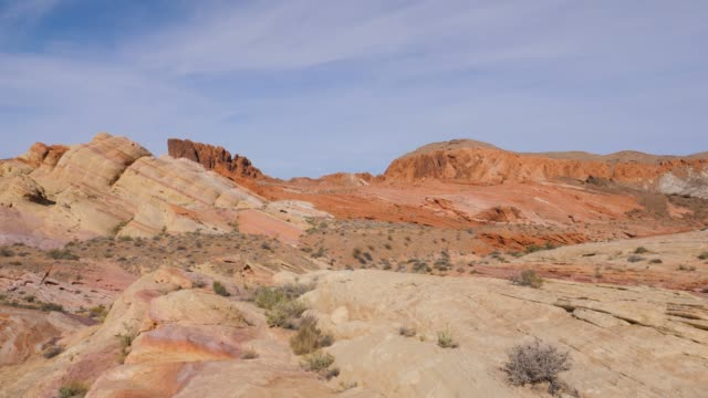 panning desert with sand and cliffs in red rock canyon national conservation - red rock canyon national conservation area video stock e b–roll