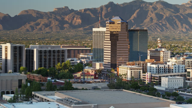 Panning Drone Flight Over Tucson at Sunset