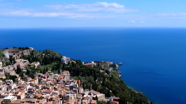 Bидео Panning from Taormina to Naxos on Ionian sea coast