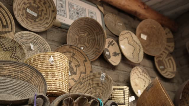 panning hand woven native american baskets