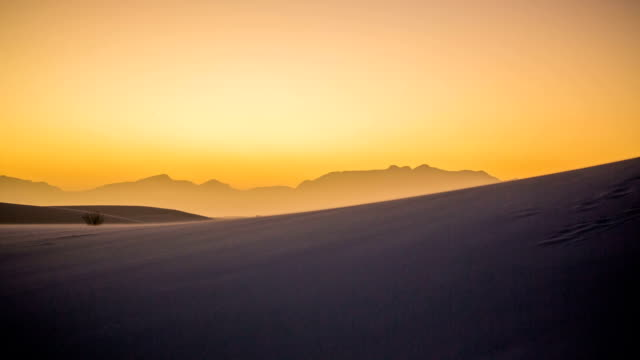 Panning Left on Windy Dunes in Desert at Sunset video