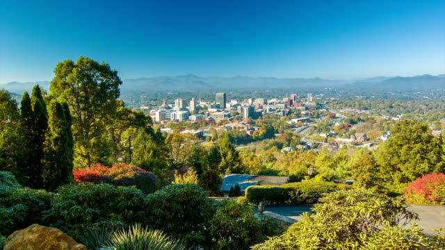 Panning Left View of Asheville City Downtown from Town Mountain video