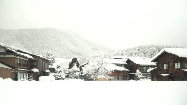 panning: no people in snowing day at Shirakawago village