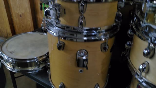 panning of stacked drums video