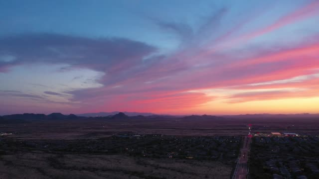 Panning over a brilliant sunset from a drone over the Sonoran Desert