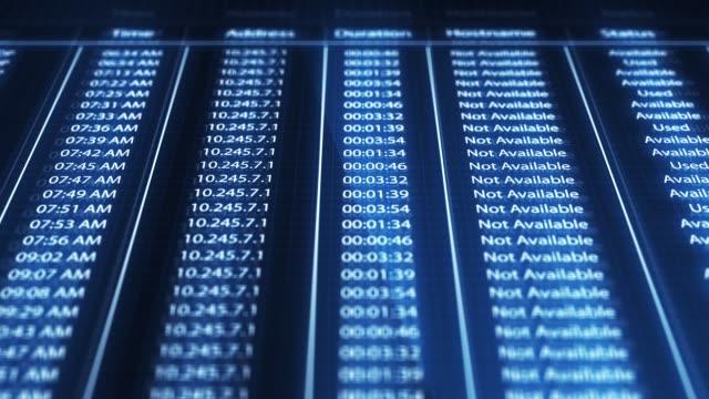 panorering över en dator digital skärm av en ip-adress statistik - cyberbrott koncept - kriminell bildbanksvideor och videomaterial från bakom kulisserna
