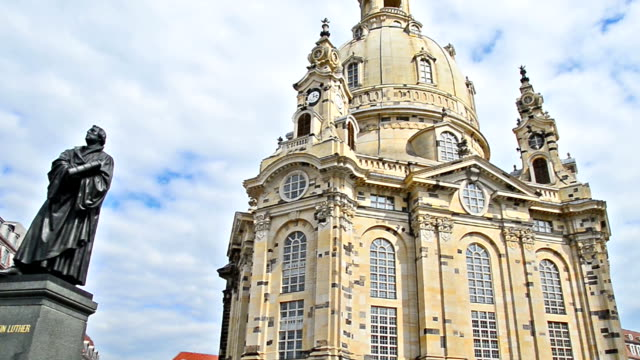 panning over church of our Lady, Dresden, Germany video