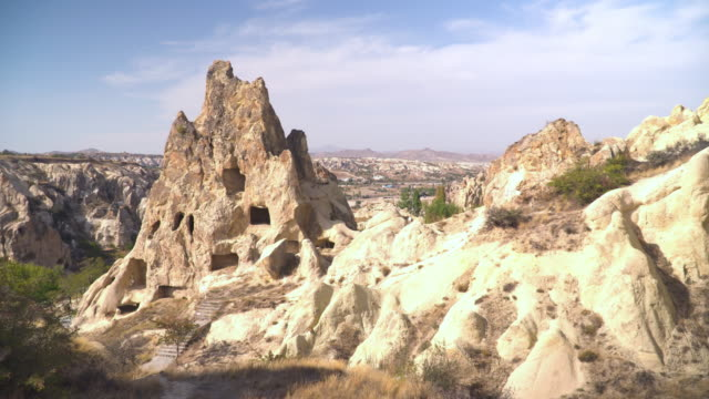 panning panoramic view of the valley as an eroded church building in Goreme village, Turkey on a clear sky and sunny day. Rural Cappadocia landscape. Volcanic mountains in Goreme national park. Countryside lifestyle.